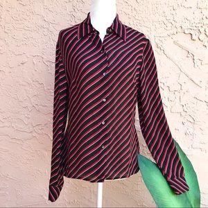 Ann Taylor Diagonal Lines Silk Professional Blouse